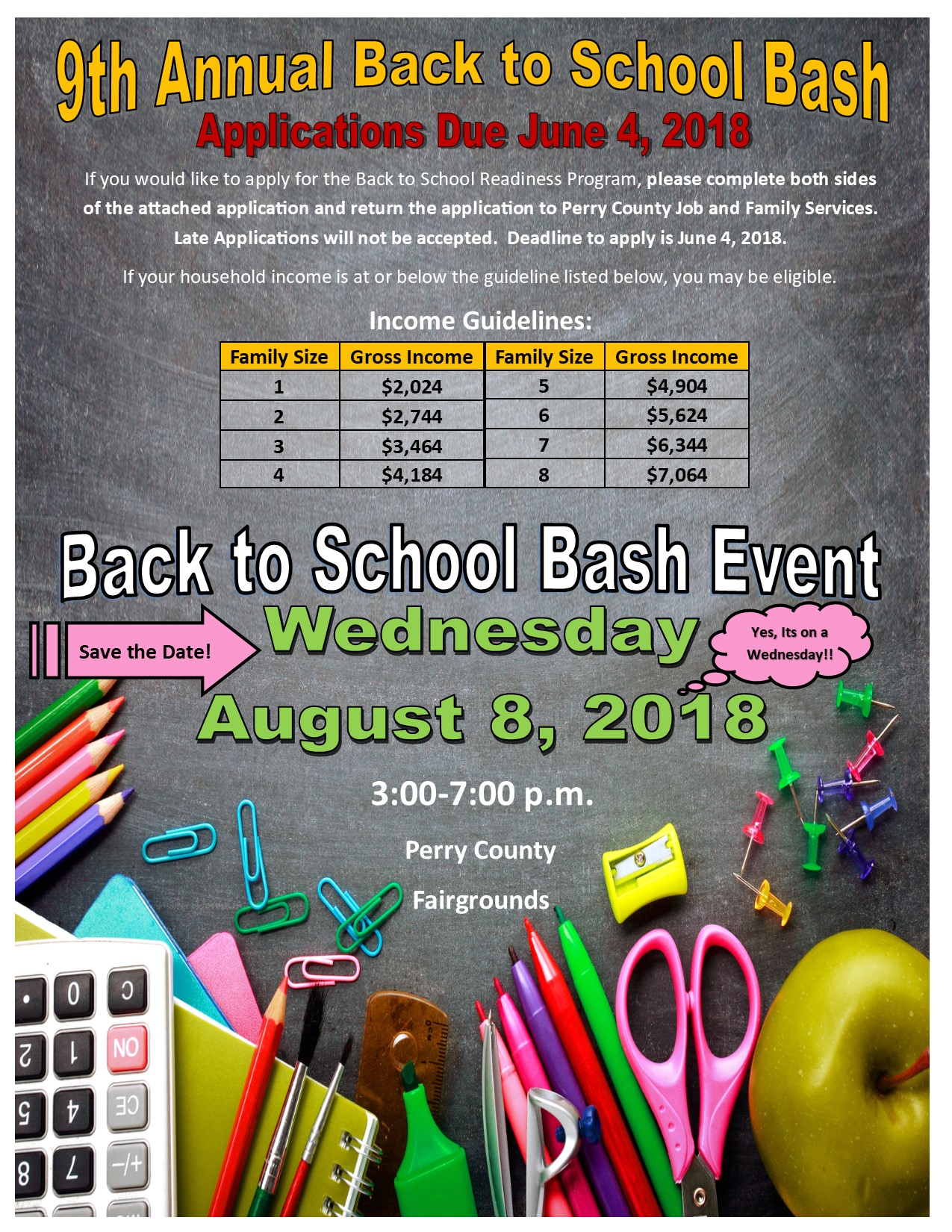 Back to School Bash Applications are Due June 4, 2018