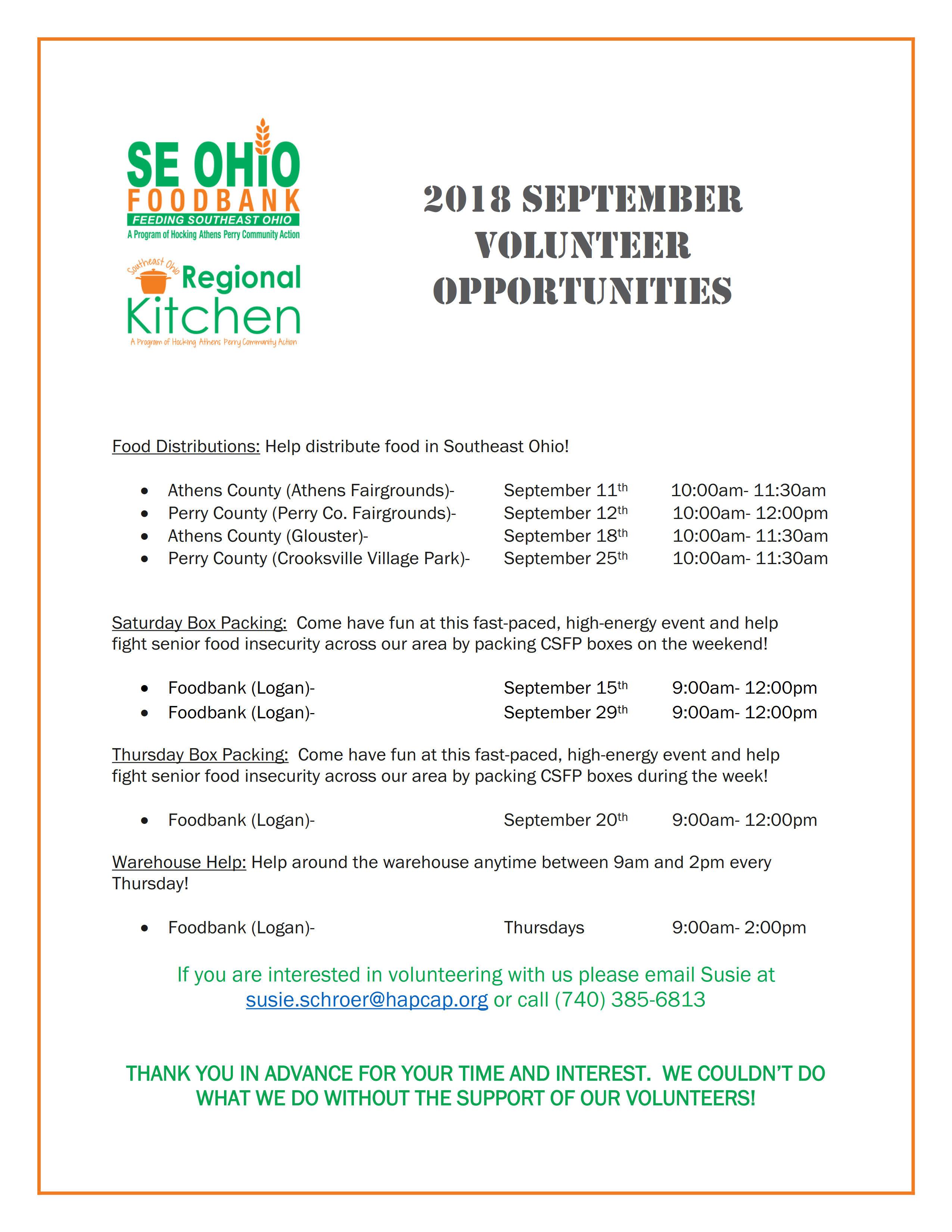 SE Ohio Food Bank September 2018 Volunteer Opportunities