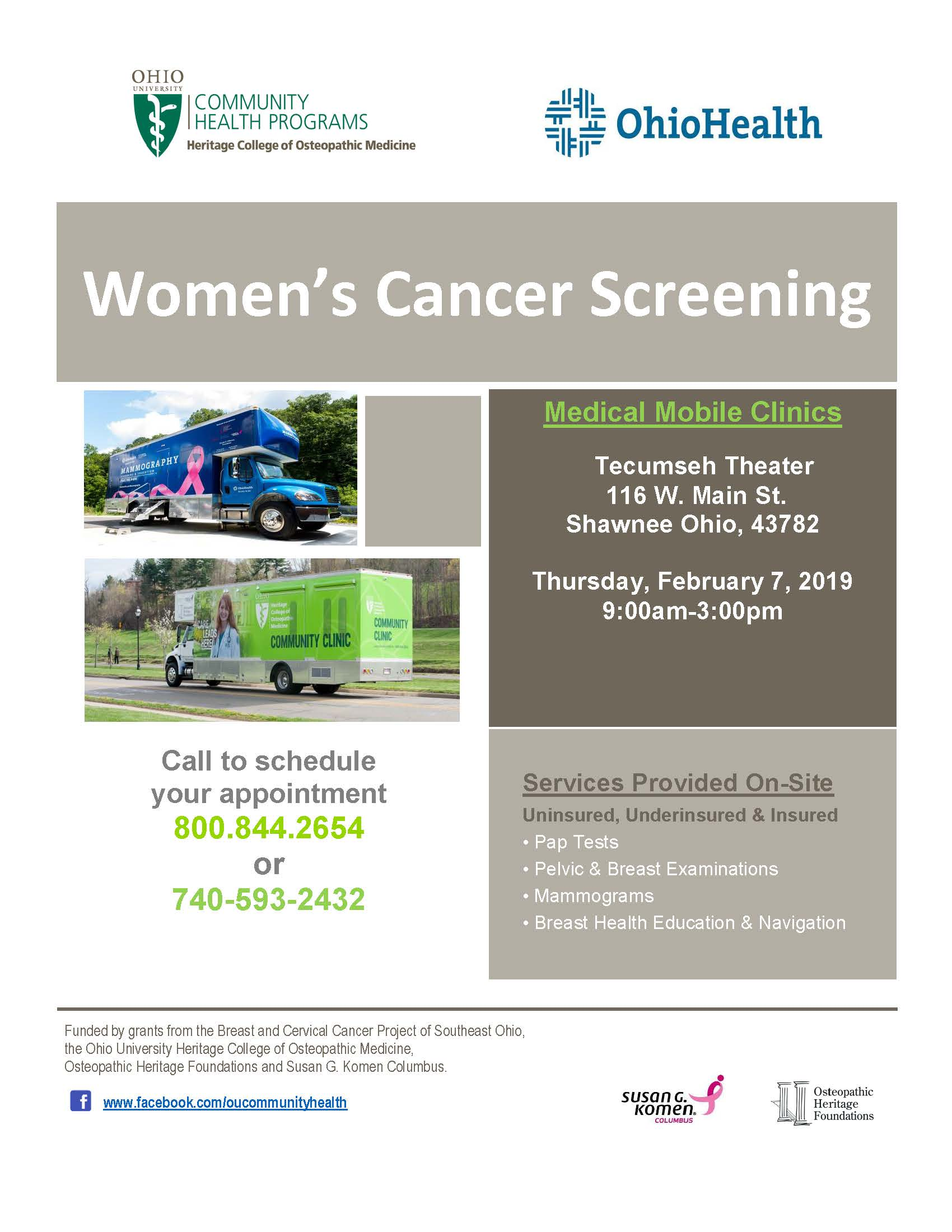 Women's cancer screening clinic in Perry County (Shawnee)