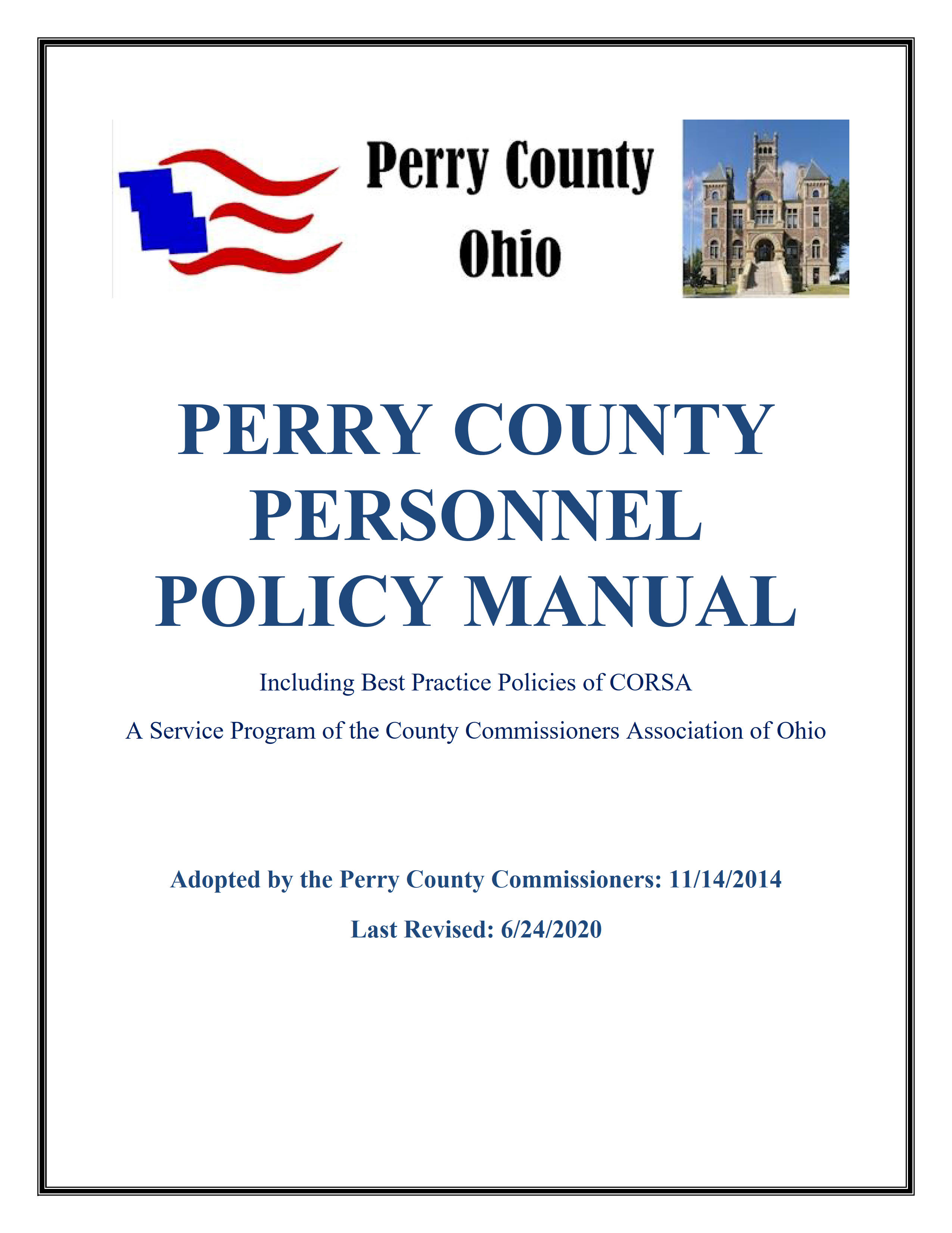 Updated Perry County Personnel Policy Manual to Revision  06/24/2020